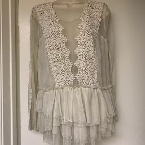 Cream Free People Lace Mesh Blouse